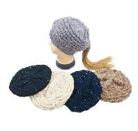 Knitted Sequined Pony Tail Beret