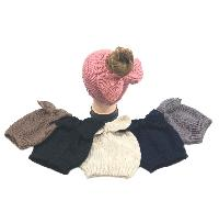 Knitted Pony Tail Beanie with Bow [Small Knit]