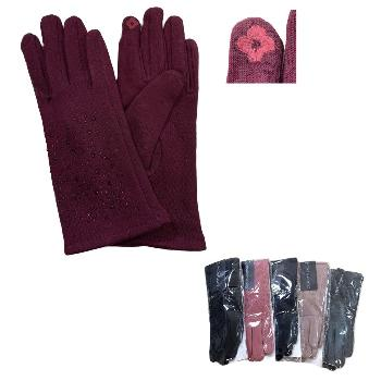 Ladies Plush-Lined Touch Screen Gloves [Rhinestones]