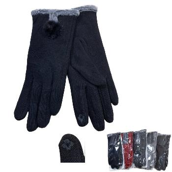 Ladies Plush-Lined Touch Screen Gloves [Fur Accent]