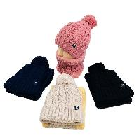Plush-Lined PomPom Knit Hat/Neck Warmer Combo [Cable Knit]