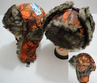 Aviator Hat with Fur Trim--Orange Camo